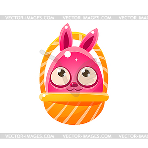 Pink Egg Shaped Easter Bunny In Basket.