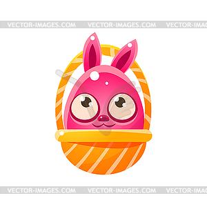 Pink Egg Shaped Easter Bunny In Basket.