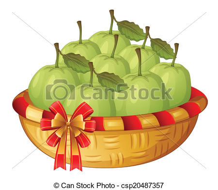 Clipart Vector of A basket of guavas.