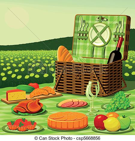 Clip Art Vector of Picnic on a meadow in the middle of dandelions.