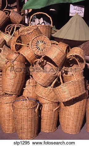 Stock Image of customs, baskets, crafts, coloring, basketware.
