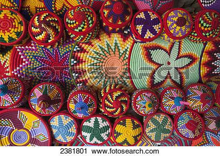 Stock Photography of Colourful basket ware; Axum, Tigray, Ethiopia.