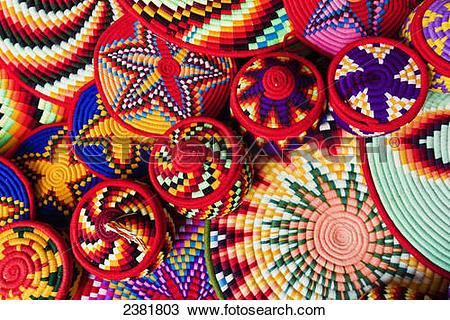 Stock Photo of Colourful basket ware; Axum, Tigray, Ethiopia.
