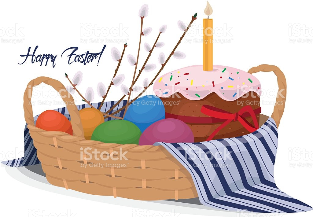 Easter Basket Cupcake Cake Willow Colored Eggs stock vector art.