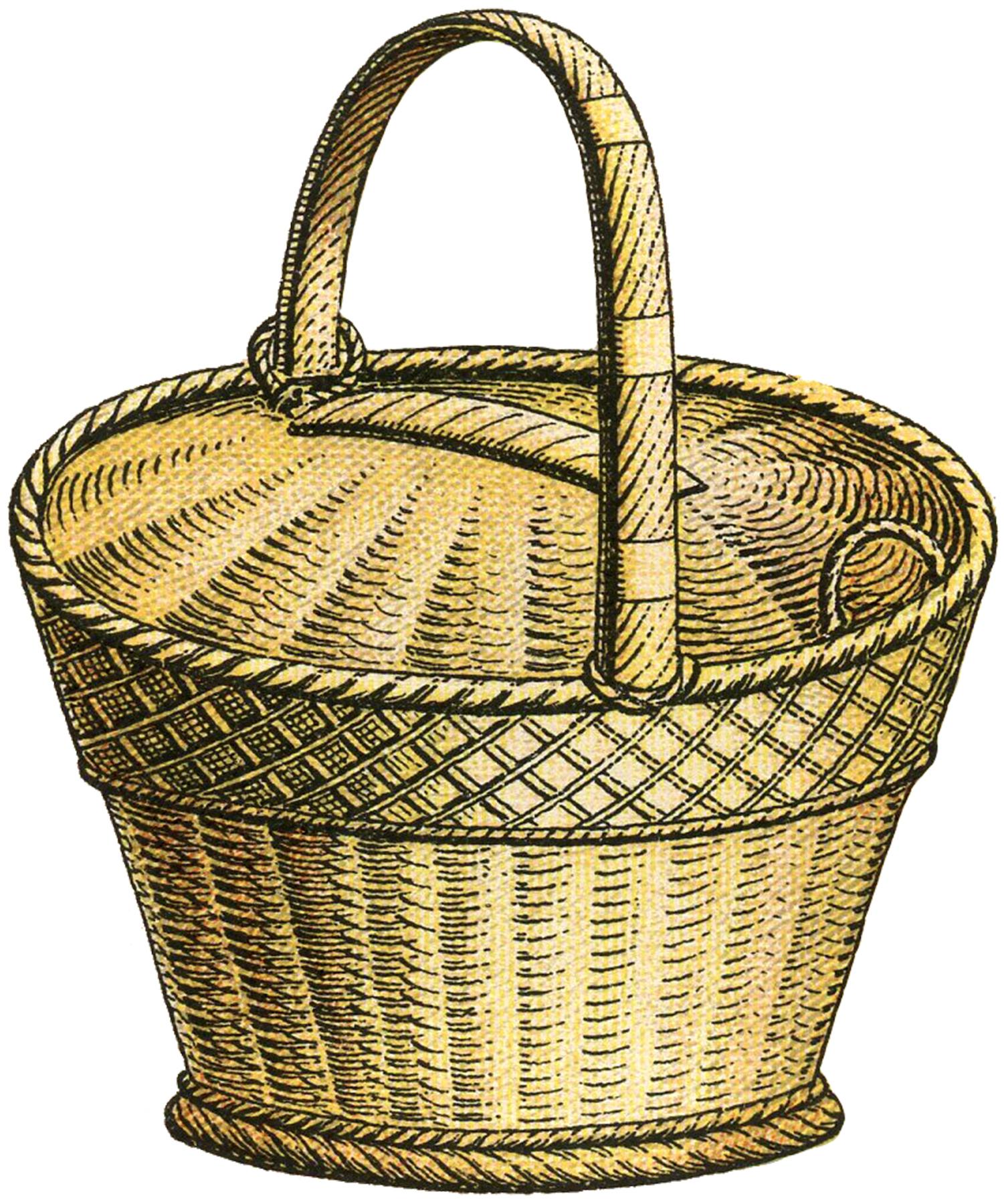 Wicker basket clipart.