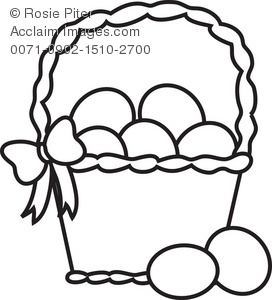 Clipart Illustration of a Basket of Eggs.