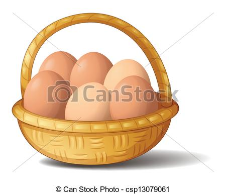 Clip Art Vector of A basket with six eggs.
