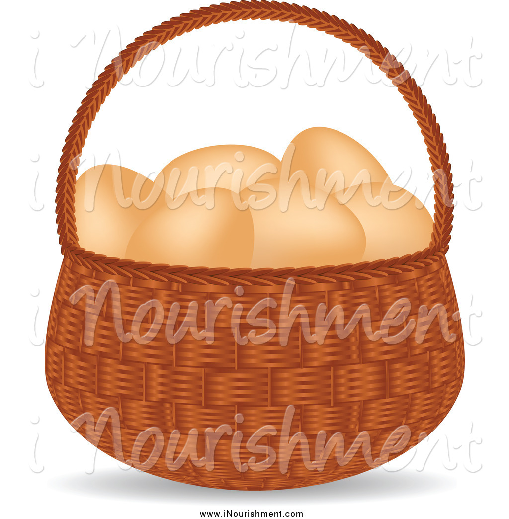 Brown Eggs In Basket Clipart.