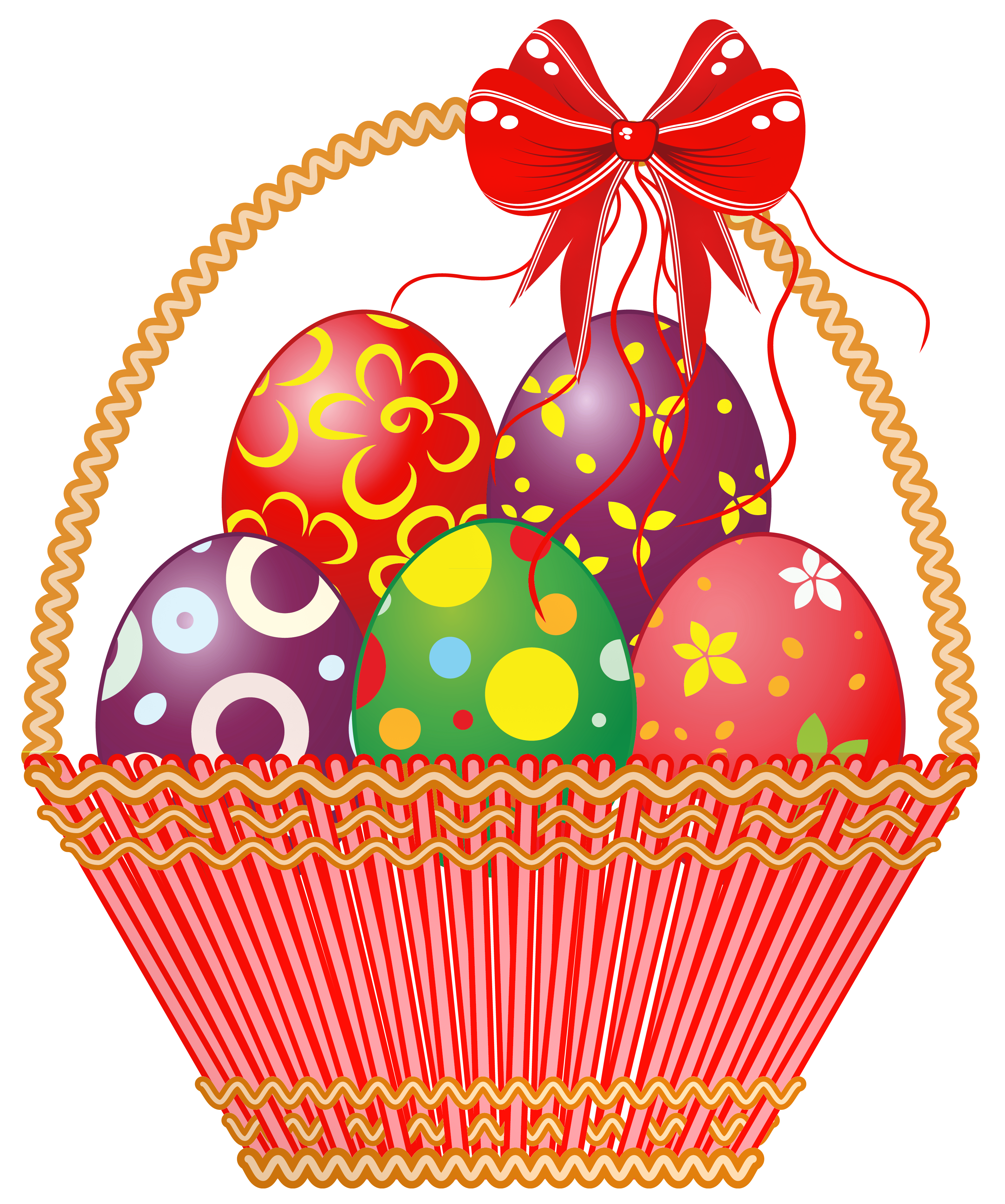 Easter Red Basket with Eggs PNG Clipart Picture.