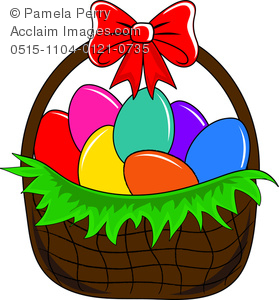 Clip Art Image of an Easter Basket Filled With Dyed Eggs.