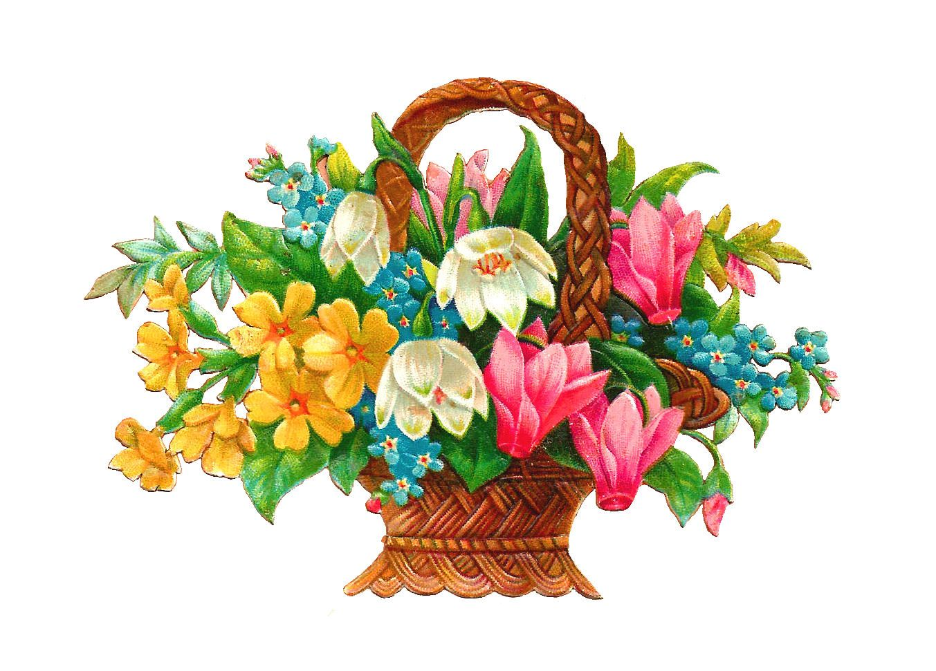 Antique Images: Free Flower Basket Clip Art: 2 Wicket.