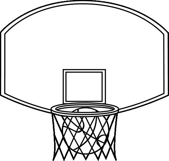 Black and White Basketball Backboard and Ball Clip Art.
