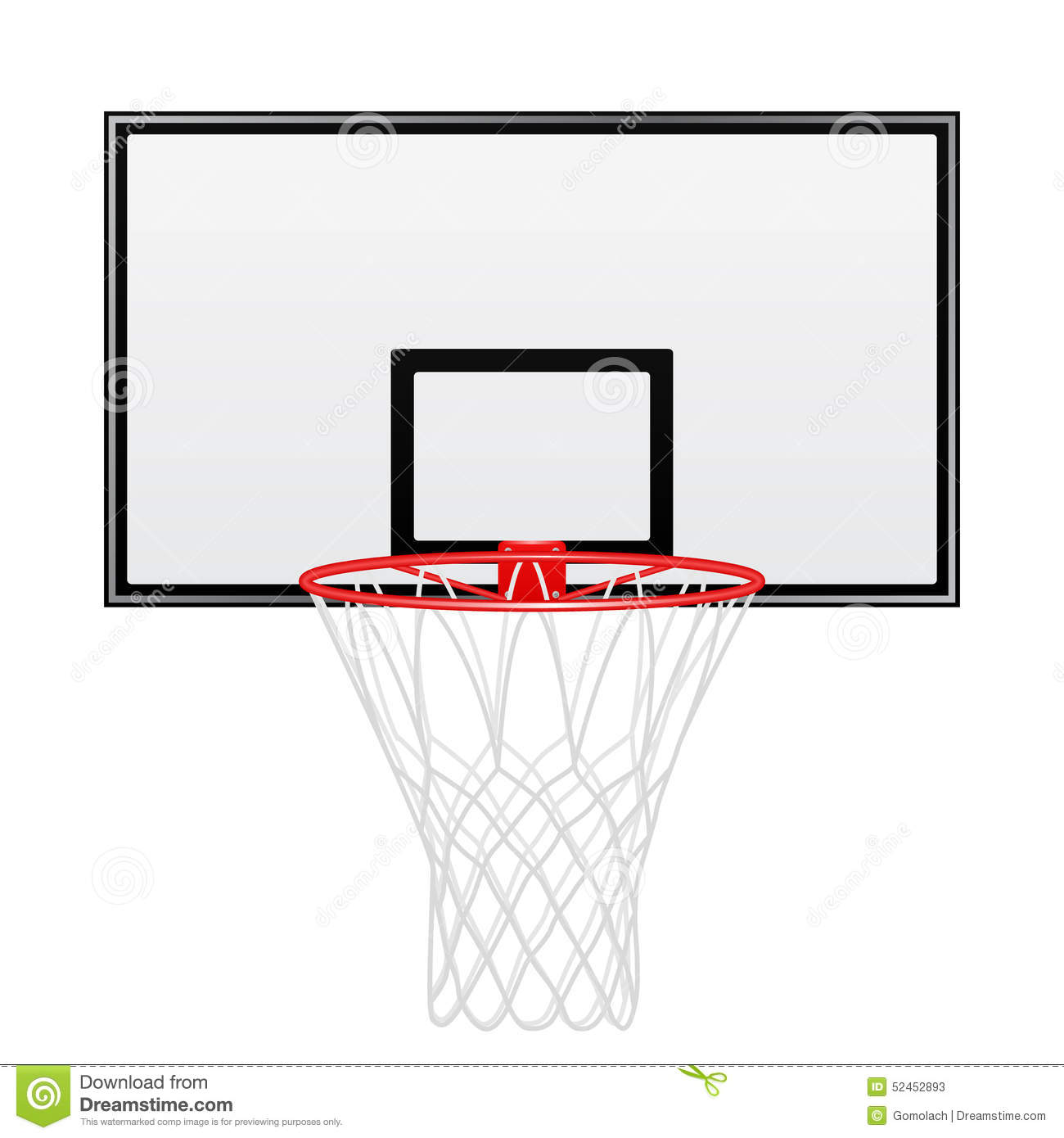 Black And Red Basketball Backboard Isolated On White Background.