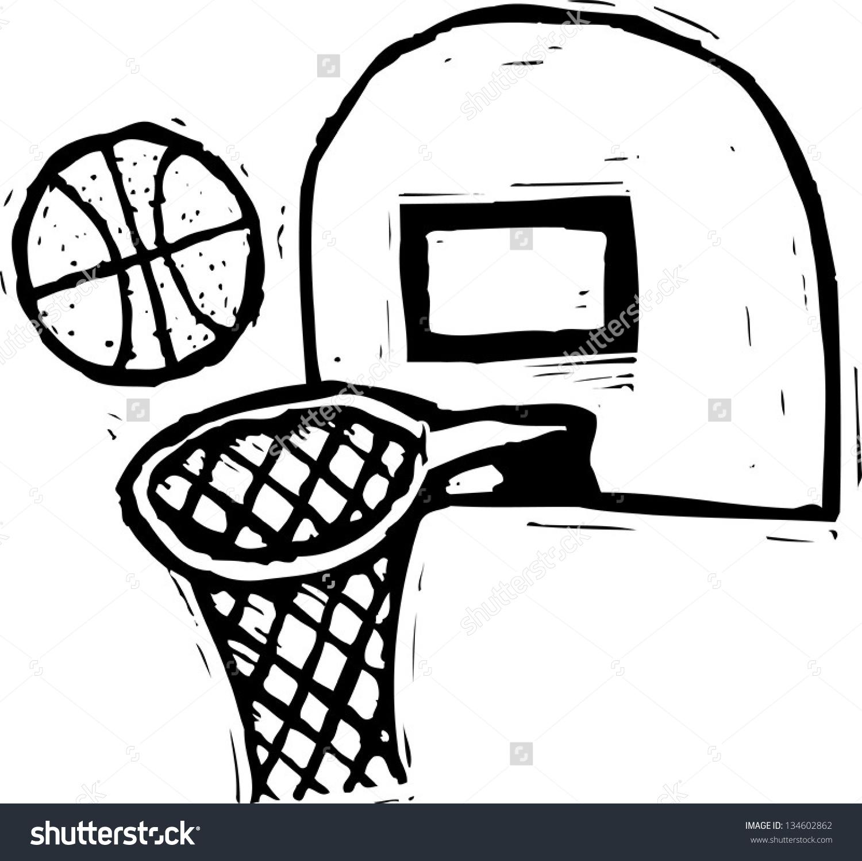 Black White Vector Illustration Basketball Backboard Stock Vector.