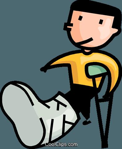 Free Clipart Boy Broken Leg Cast.