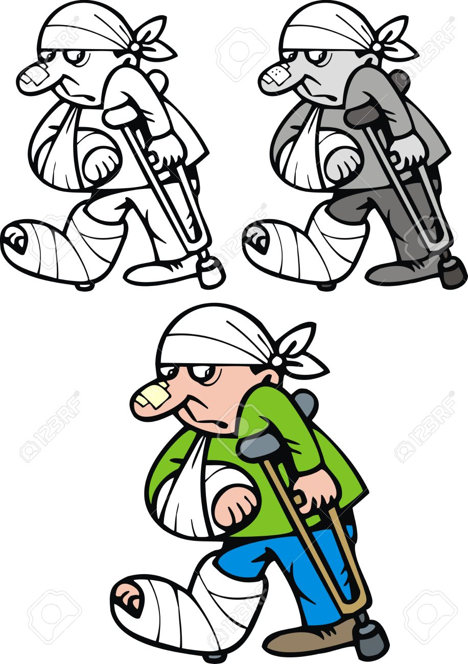 Showing post & media for Cartoon person with broken leg.