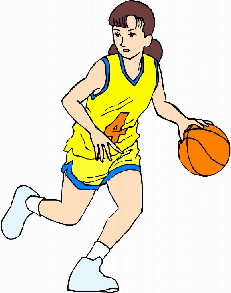 Cartoon Girl Playing Basketball.