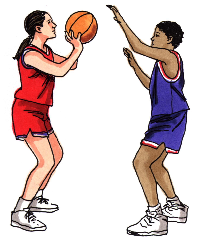 Girl Shooting Basketball Clip Art free image.