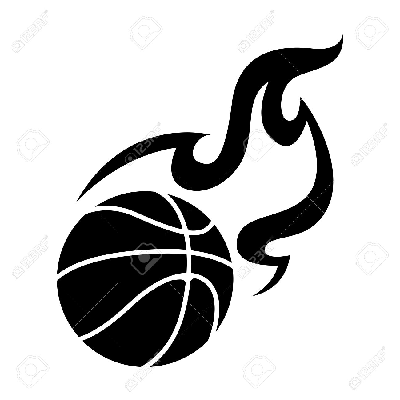 Basketball Clipart Black And White Vector.