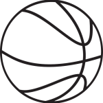 Beautiful Basketball Clipart Black And White Image.
