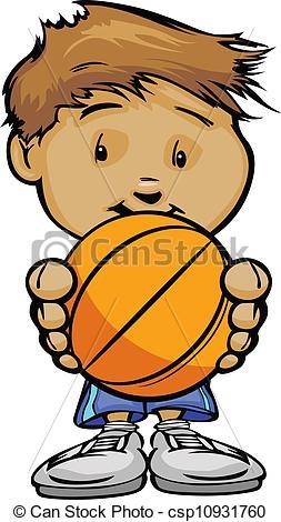 Cute Children Playing Basketball Clipart.