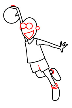 Drawing a cartoon basketball player.
