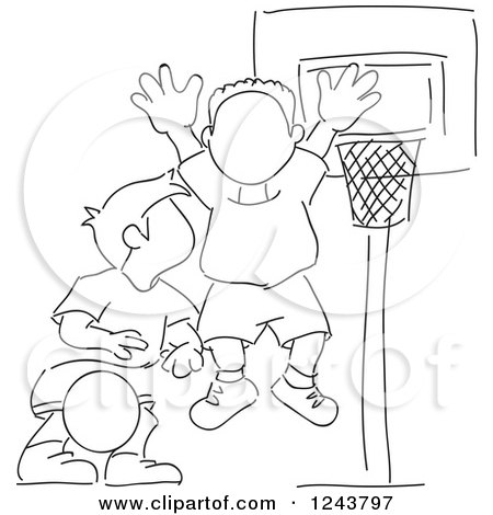Clipart Sketched Basketball Coach Standing On A Court.