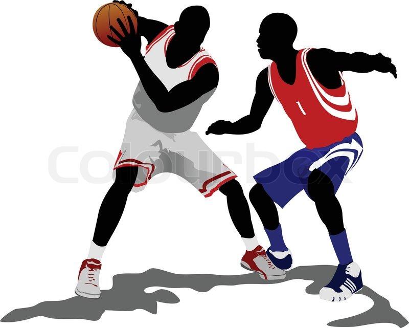 Basketball players. Vector.