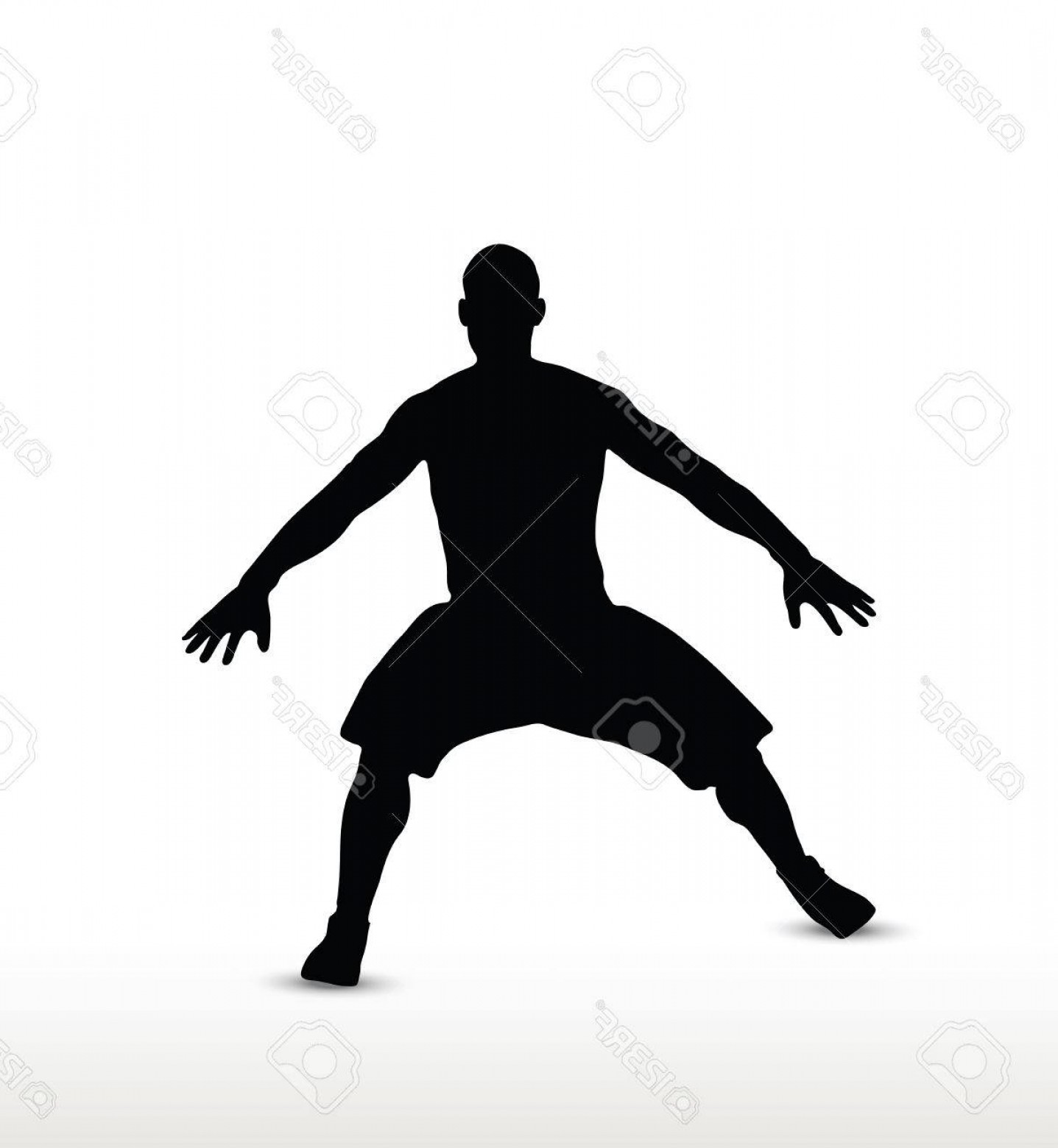 Defensive Football Player Silhouette Vector.