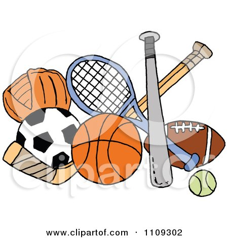 Clipart Baseball Soccer Basketball Hockey Tennis And Football.