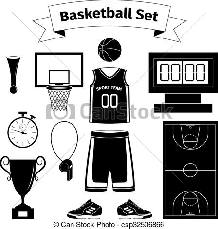 Clip Art Vector of Basketball equipment set, vector illustration.