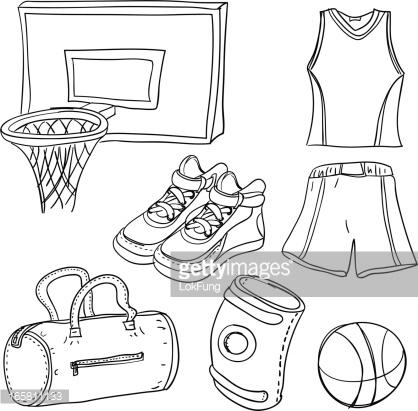 Basketball Illustration In Black White Vector Art.