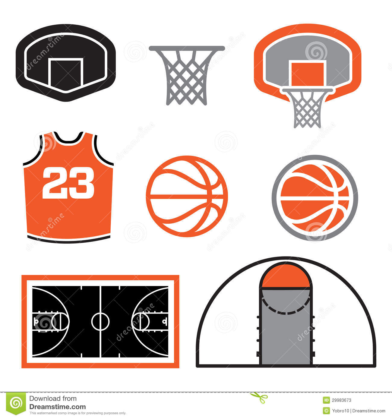Basketball Elements Illustration Stock Photos.