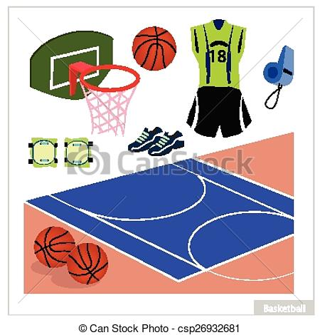 Vector of Set of Basketball Equipment on White Background.