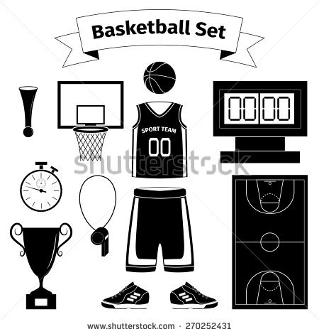 Cartoon Basketball Equipment Icon Set Outline Stock Vector.