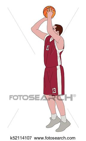 Basketball player shooting free throw Clip Art.