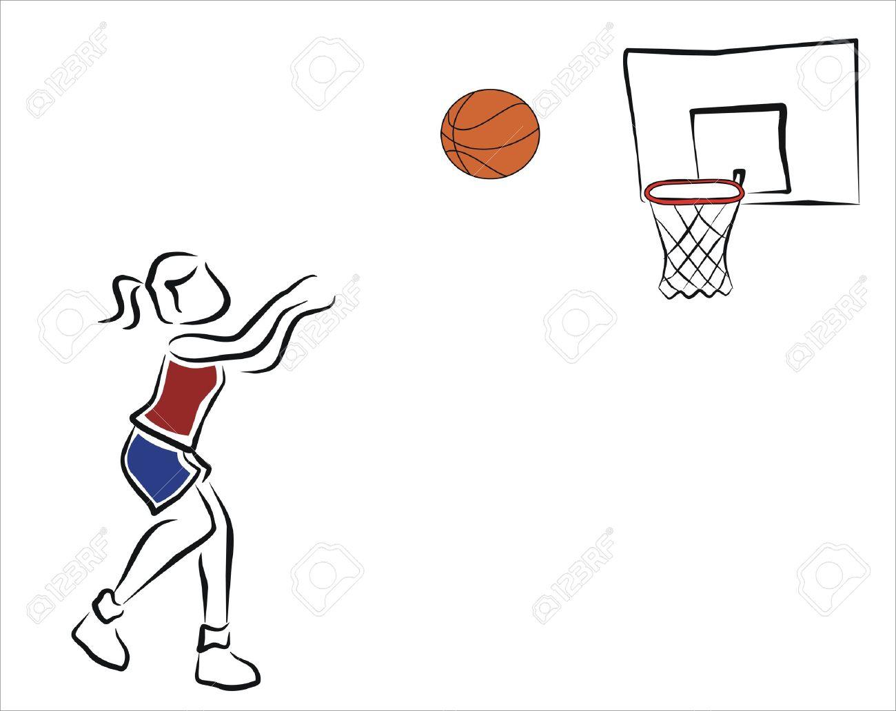 girl playing basketball, throwing the ball.