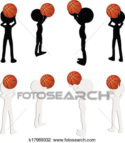 Basketball players silhouette collection in free throw position Clipart.