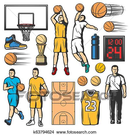 Basketball game icons, players and sport items Clipart.