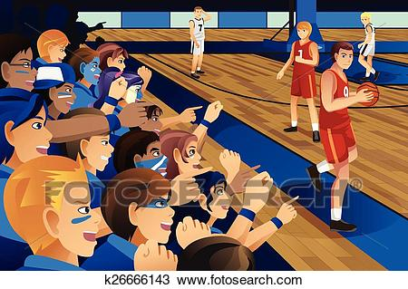 College students cheering for their team in a basketball game Clipart.