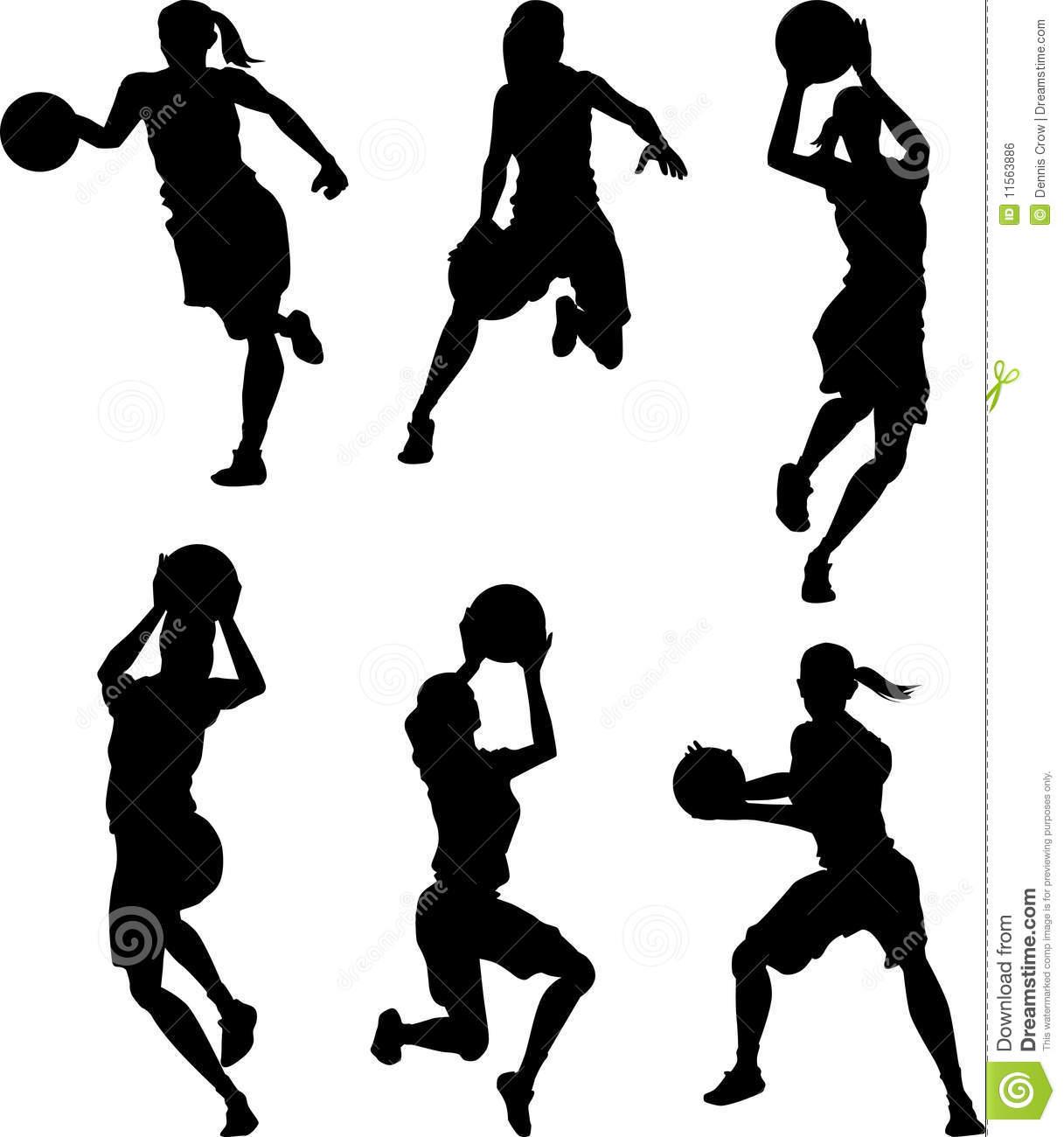 Basketball Female Silhouettes.