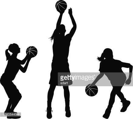 Female Basketball Players Vector Art.