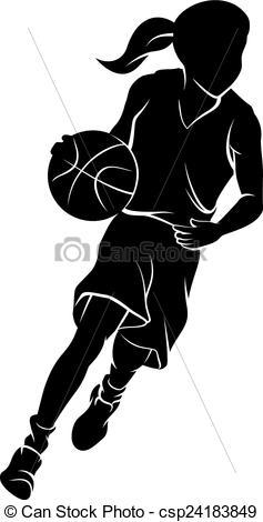 Girl Dribbling A Basketball Silhouette.