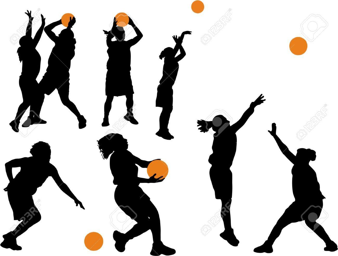 Basketball Girl Silhouette Clipart.