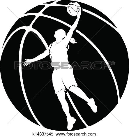Clip Art of Silhouette Woman Basketball Player k22538038.