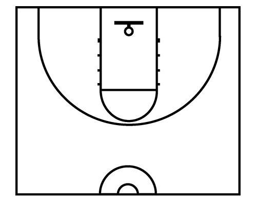 Basketball half court clipart.