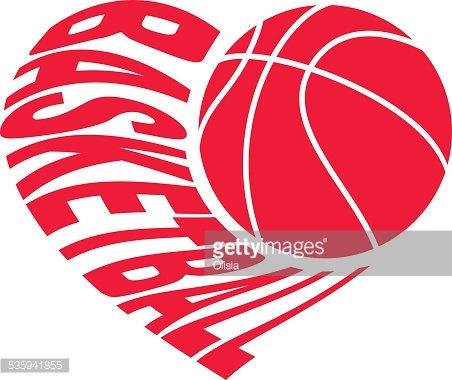 Basketball IN Heart premium clipart.