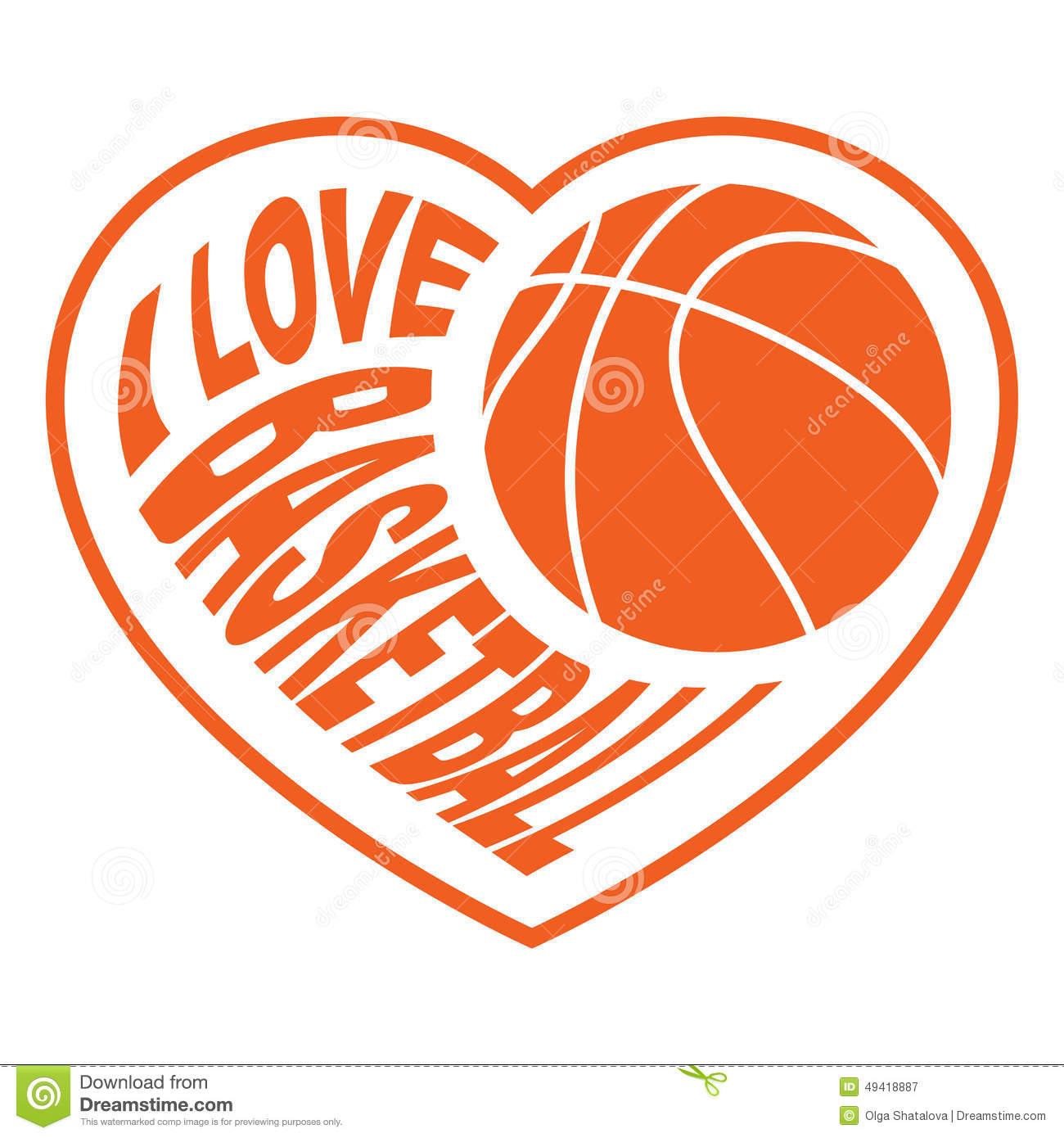 Basketball in heart 4 stock vector. Illustration of sport.