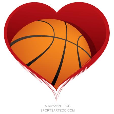 Basketball Heart Design.