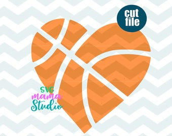 Basketball heart svg.
